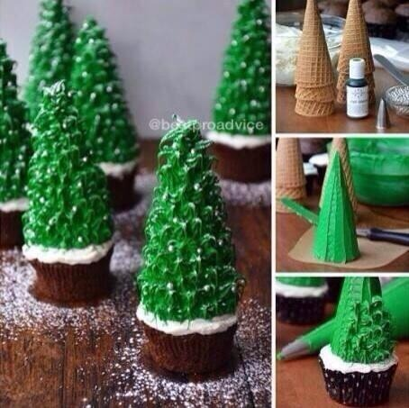 make cute christmas tree cupcakes with an ice cream cone christmas fun food