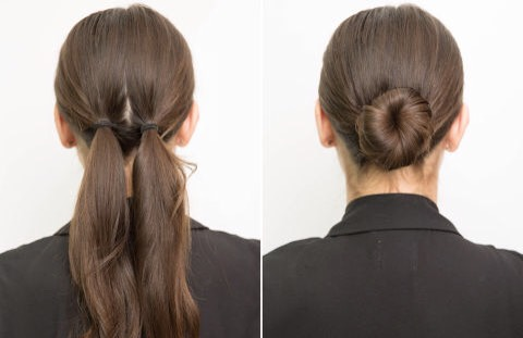 🔟Prevent your low bun from loosening:  tie your hair in two separate ponytails first. Tie the pigtails as close together as possible in the middle of the back of your head. Then wrap the ends around each other, creating the bun. Secure with bobby pins. (Tip via Rodney Cutler at Alice + Olivia.)