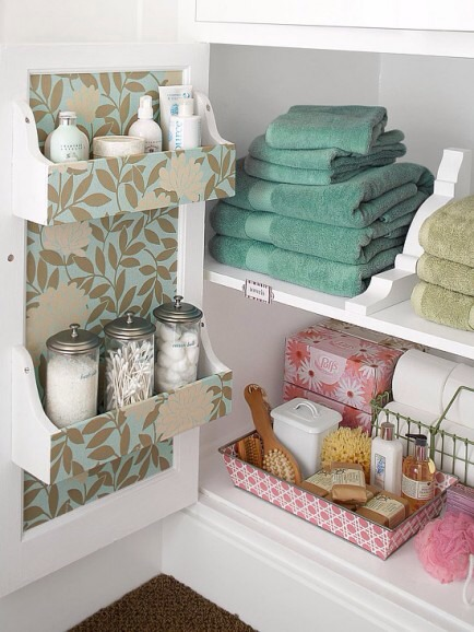 Shelves Inside Cabinet Doors  Make better use of bathroom or linen closet shelves with this great idea. It's a good way to get control of little items inside a large space.