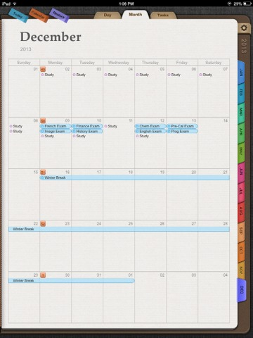Planner Plus - Ultimate planner containing notes, events, and tasks. Has a daily, monthly, and task list view.