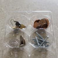 Use clean plastic egg cartons to sort and organize household screws, jewelry and other small items.