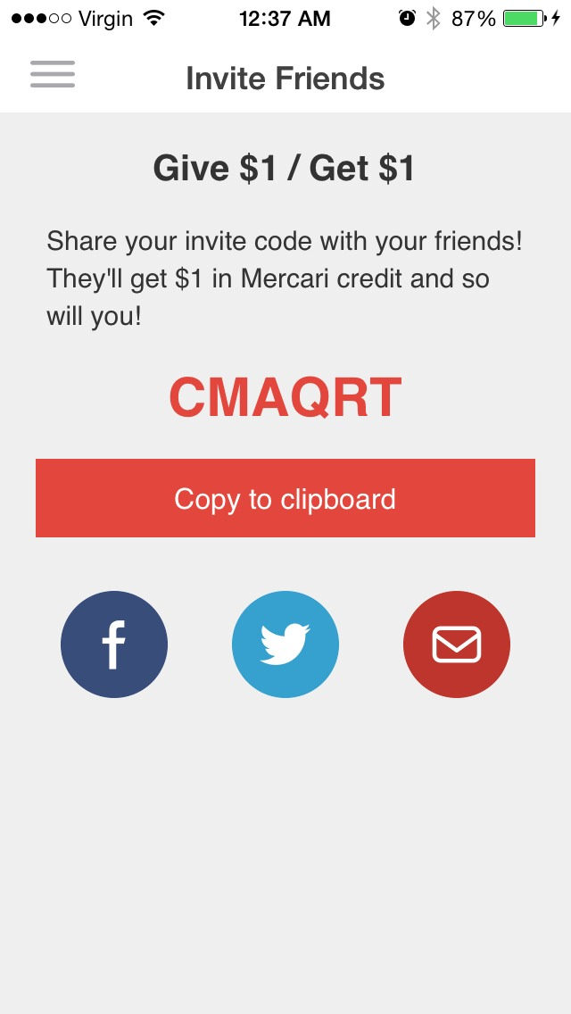 Download mercari, and add this code. You get $1 off your first purchase!