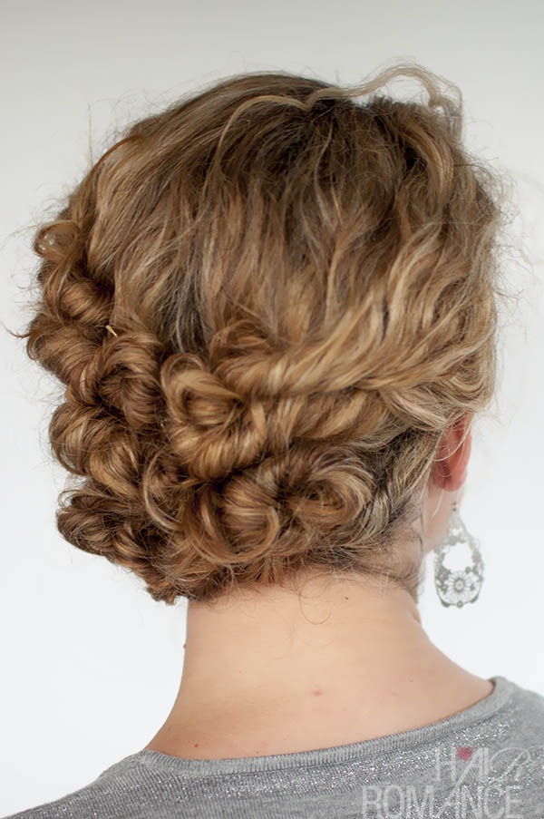 For this type of dress you really don't want your hair to be down because of covering the neckline and the hair piece would go great on the side of your head for this hair style