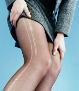 how to fix riped tights, glue fabric onto the rip.
