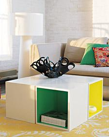 Cool coffee table made out of white lacquer storage cubes!