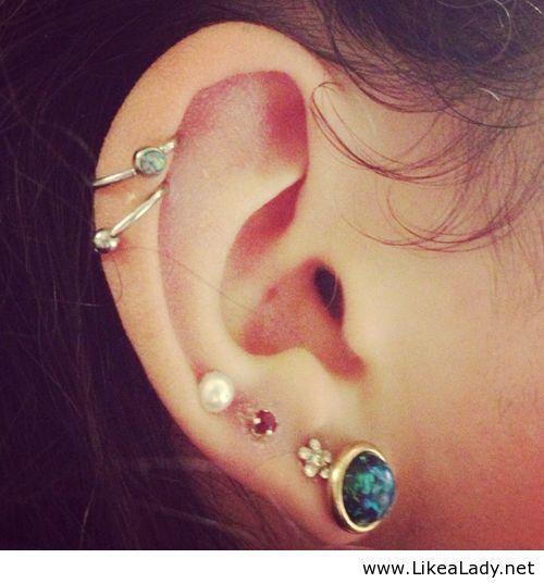 double helix, upper and standard lobe piercings