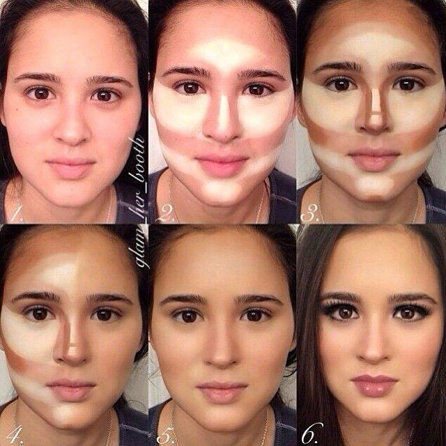 Get a lighter foundation than ur skin tone and highlight the nose , forehead  , above lip , chin and  arch of eyebrows 👌 then take a darker foundation or bronzer and contour the sides of the nose , sides of you forehead and under the apples of ur cheeks