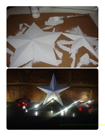 Paint your stars in your desired color and leave to dry. Don't worry if you can see the pen through the white paint, you want this to happen as it gives them a shabby chic feel. Once fully dry the card will become stiff and you are ready to place anywhere you like!