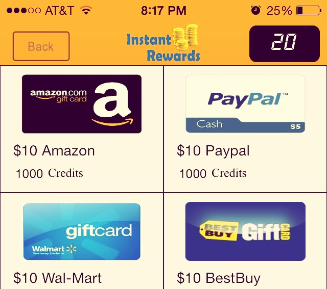Instant rewards is an easy way to get free gift  cards