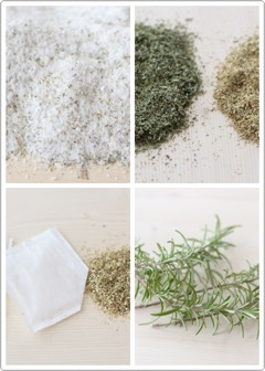 * 2 cups of Epsom Salt (UNSCENTED) * ½ cup Baking Soda * 10 drops of Rosemary Essential Oil * 2 Chamomile tea bags (100% chamomile) * ¼ cup dried rosemary (OPTIONAL)