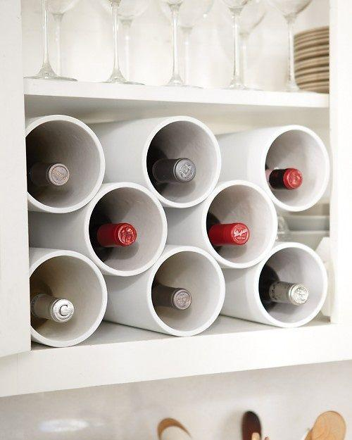 9. PVC Wine Rack Create a custom wine rack using 4-inch PVC pipe found at a hardware store! This is great because you can make it to fit any space, and paint it to match your kitchen's decor.