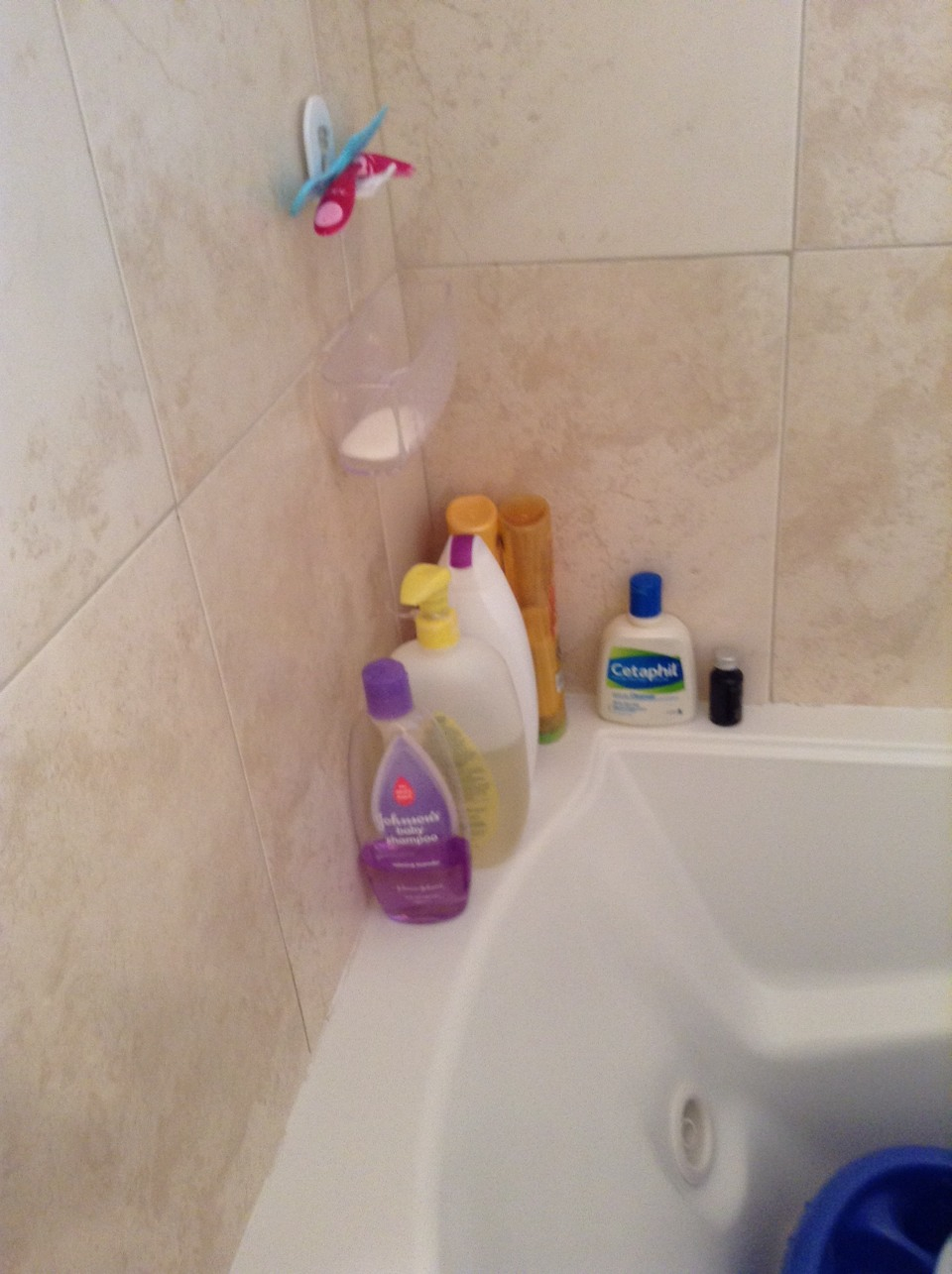 This is inside of my shower. It's really just the average way to store shower supplies, but it works really well for my size shower.