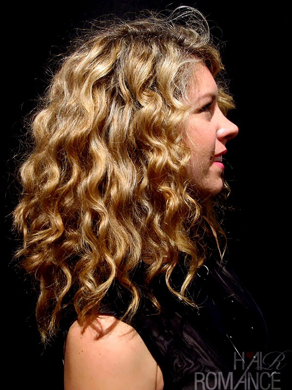 Curls too big or frizzy? Run a dime size amount of leave in conditioner through then it calms them down and makes them pretty