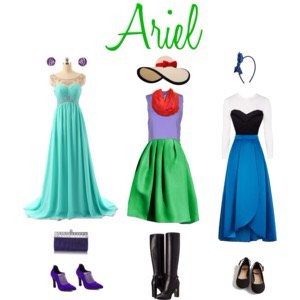 These were so much fun to make!! The first one is inspired by the picture of Ariel in the beautiful, sparkly teal dress. The second is modeled after her as a mermaid, and the third is my take on her outfit when she's in the village with Eric!