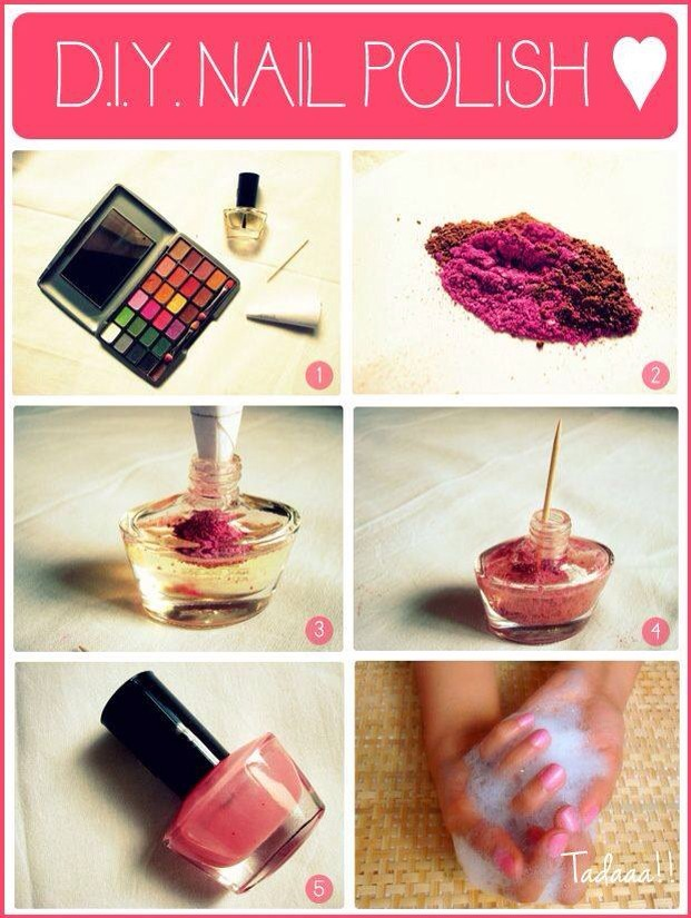 All you need is your favorite eye shadow color, clear nail polish, a tooth pick and a paper funnel.