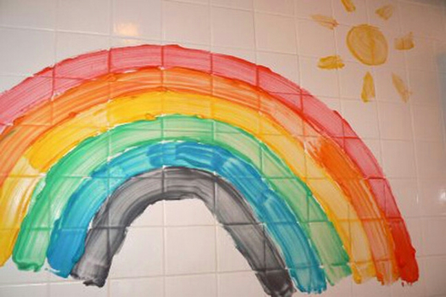 Bath paints! They are easy to make at home and without nasty chemicals