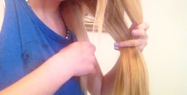 First, take all of your hair to one side and section it off into three parts. 🌺😊🌺