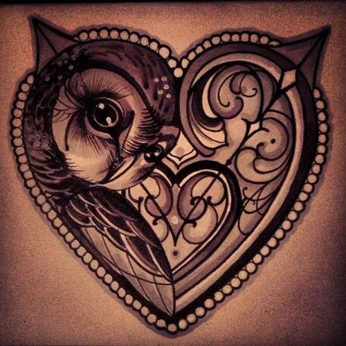 Owl/heart tattoo