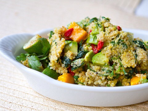 Quinoa and Vegetables  Since quinoa has an excellent balance of protein and carbs, it makes a terrific post-workout snack. This yummy salad brings the flavor too, with creamy avocados, sweet mangoes, and nutrient-dense parsley, cilantro, and kale.
