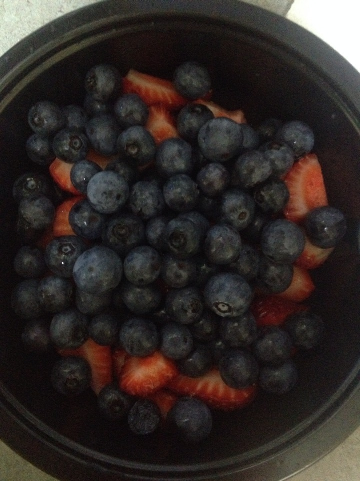 Wash and add two handfuls of blueberries