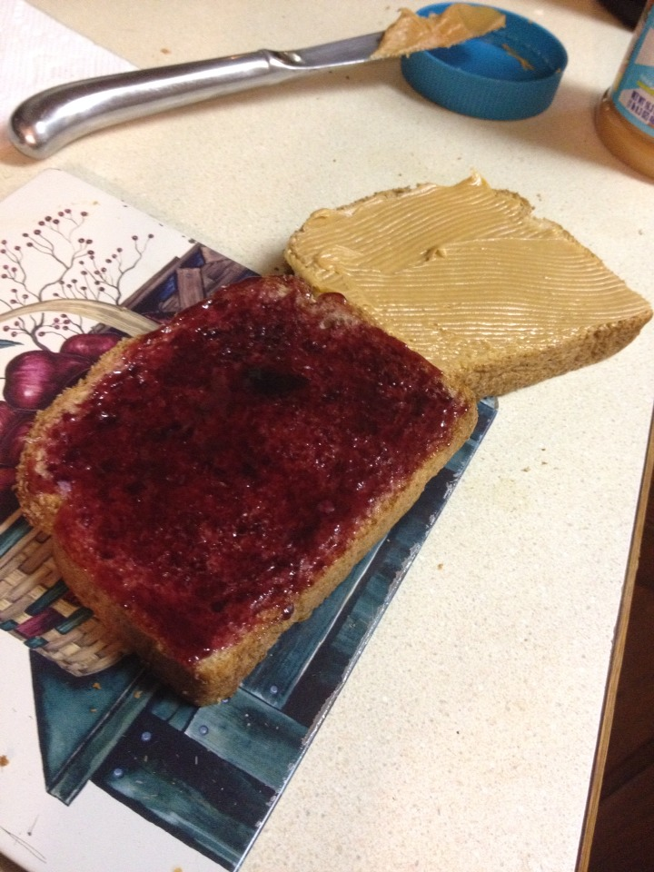 Begin like your making a regular peanut butter & jelly