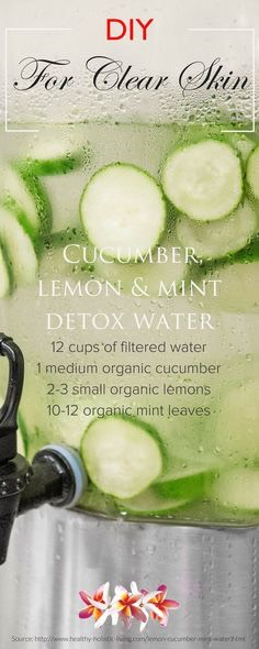 Cucumber, lemon and mint detox water 	•	12 cups of filtered water 	•	1 medium organic cucumber 	•	2-3 small organic lemons 	•	10-12 organic mint leaves  Directions: 	•	Wash lemons and cucumbers; slice thinly. 	•	Add lemons, cucumber and mint to pitcher. 	•	Cover with water and refrigerate at least 3 hours or overnight.