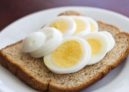 Day Three Lunch  1 hardboiled egg 1 slice toast
