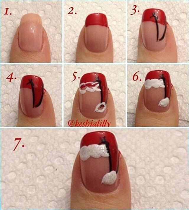 You will need:  - nail base coat; - nail top coat; - nail polish: red, black, white; - nail striper or thin brush.
