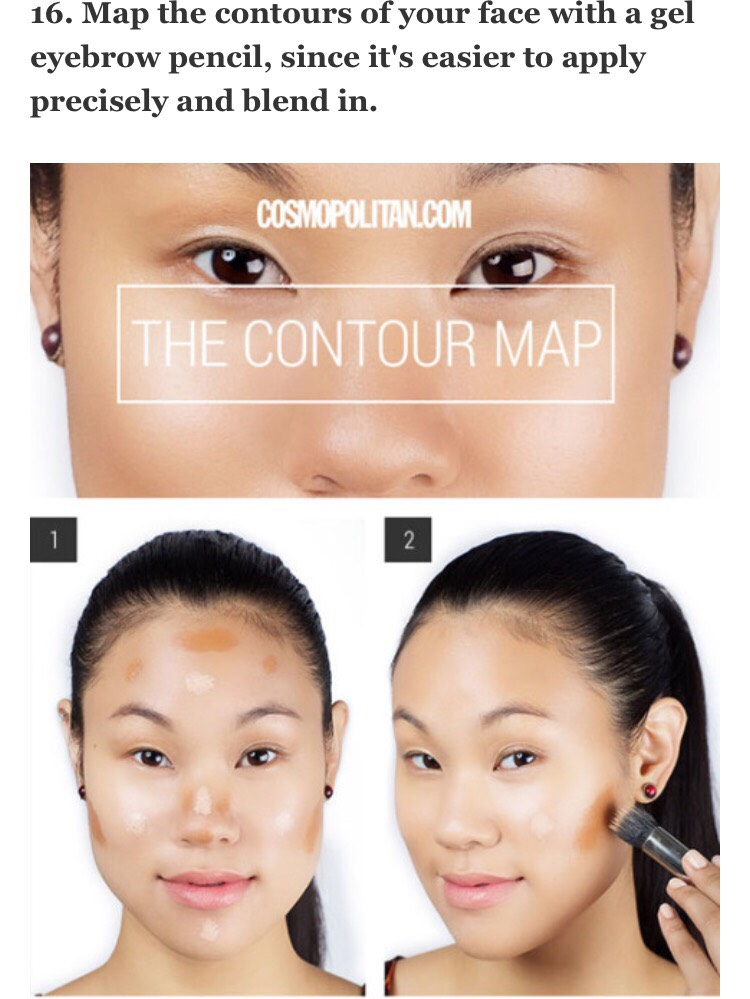 After you've applied your base, mark the areas you want to contour — the hollows under your cheekbones, your temples, along your hairline, jawline, the sides of your nose, the tip of the nose, and the crease of your eye.