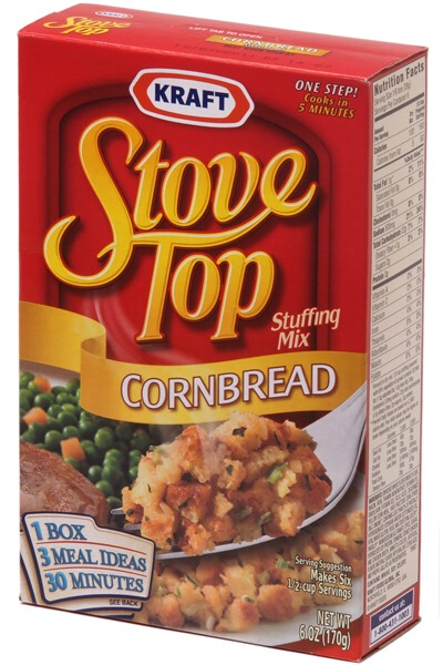 Any box of stovetop stuffing will do. Prepare it. Add an egg OR sausage. Mix in finely chopped onions or herbs if you want. Even mix it up with cheese sometimes.  ** if you are using sausage break it up in the dry mix then add boiling water.  ** if you are using egg add it after you prepare the mix.