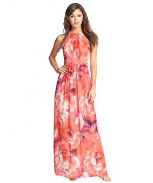 Eliza J Print Chiffon Maxi Dress. This slimming, floral-printed maxi dress perfectly echoes the romantic, laid-back mood of a beach or garden wedding. Top it off with bejeweled sandals and long dangly earrings. To buy: $89., nordstrom.com