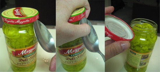 Use a spoon to open a sealed-tight jar.