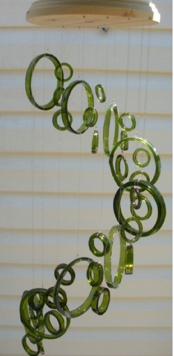 wine bottle ring wind chime. these make beautiful sounds