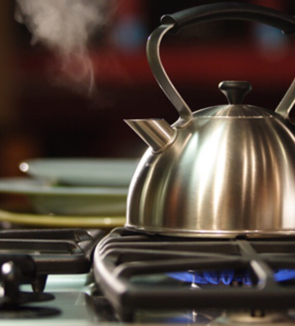 Next, boil water on the stove. Or you can just heat it up in the microwave!