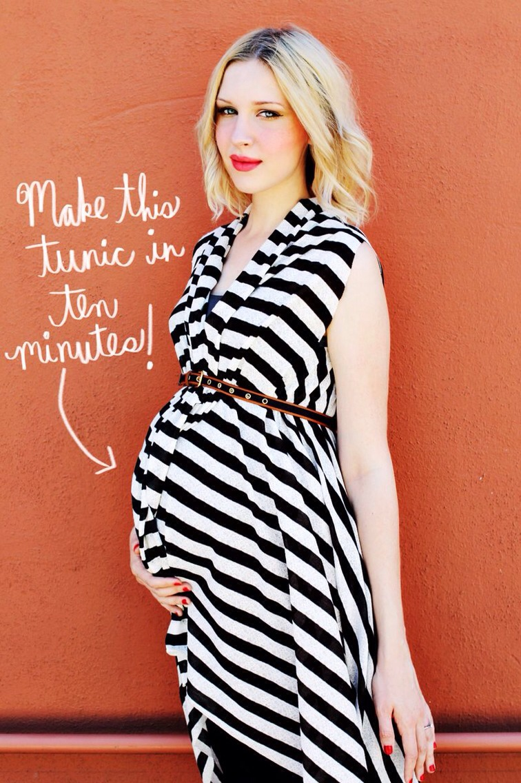 Can you believe we made this tunic in ten minutes? We can't either! This is the quickest project in our maternity DIY series! It's as simple as choosing fabric and cutting. No sewing involved! Here's how we made it...