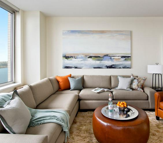 Sea of Space Make your living room a welcome respite for a gang of friends with ample seating and a circular coffee table that's easy to navigate.
