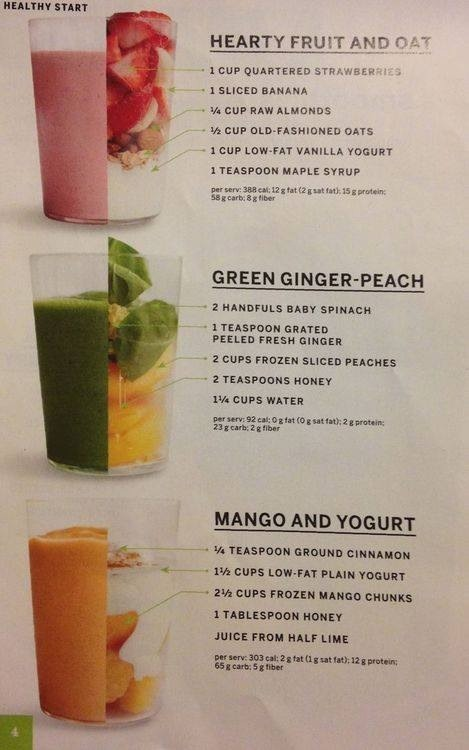3 healthy fruit drinks.