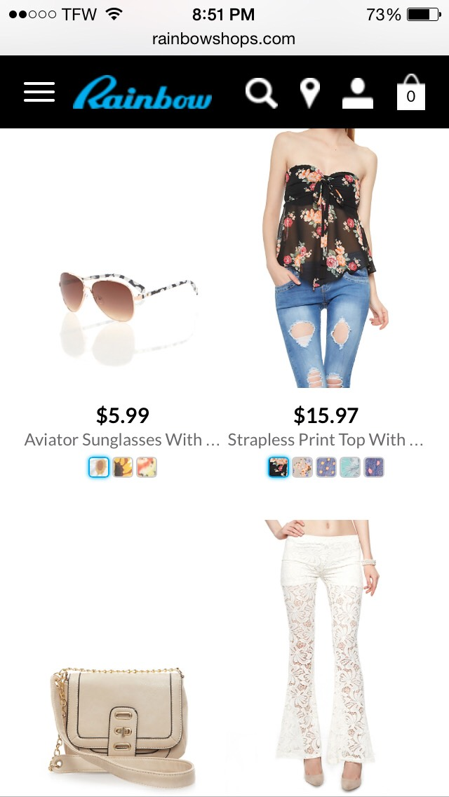 Rainbowshops.com has the cutest most colorful clothes all at great prices! They also have plus sizes!