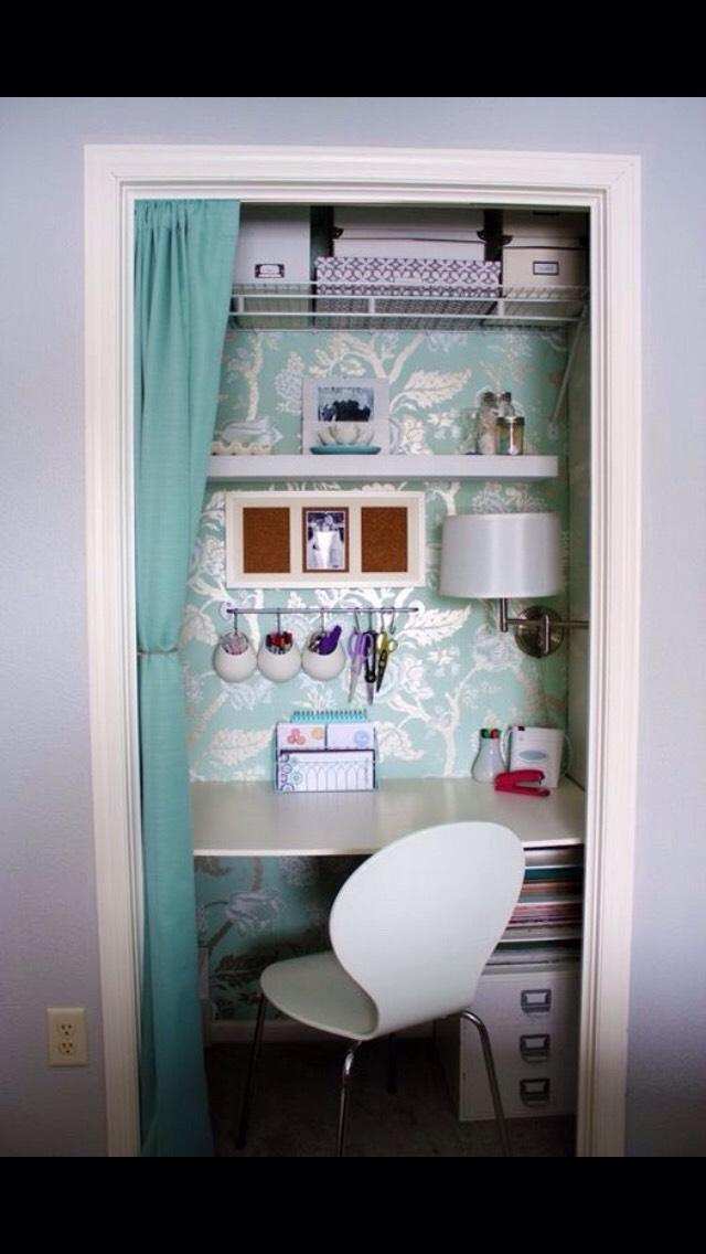 Add shelves and desk into small closet