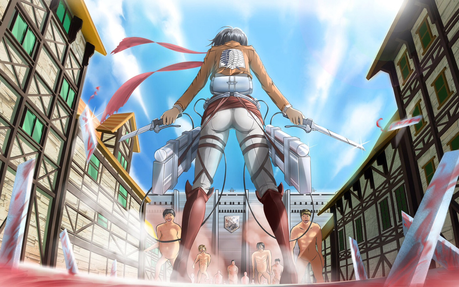 Attack on titans: a civilization lives in peace until a sudden attack from large and dangerous titans. Graphic and great, yet another anime were awaiting on the next season.
