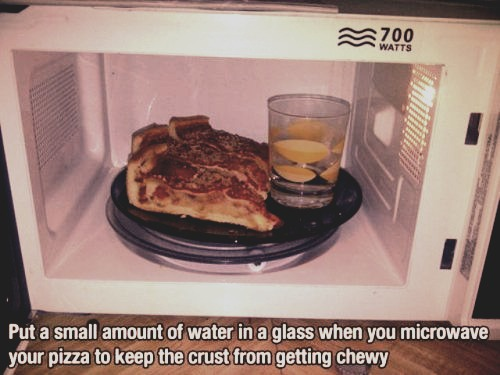 Put a glass of water in the microwave to keep your food from dehydrating! Like if you're gonna do this later. It actually works, I've done it before. Please don't steal :)