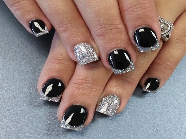 These are very beautiful nails. They are sparkly and dark. Very pretty.