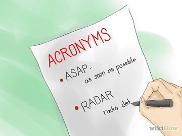 2⃣Acronyms. An acronym is a word in which each individual letter stands for another word or term, making a list of words easier to remember. Make your own acronyms by taking the 1st letter of a list of words/phrase & arranging them in such a way that they form another word that's easily memorizable.