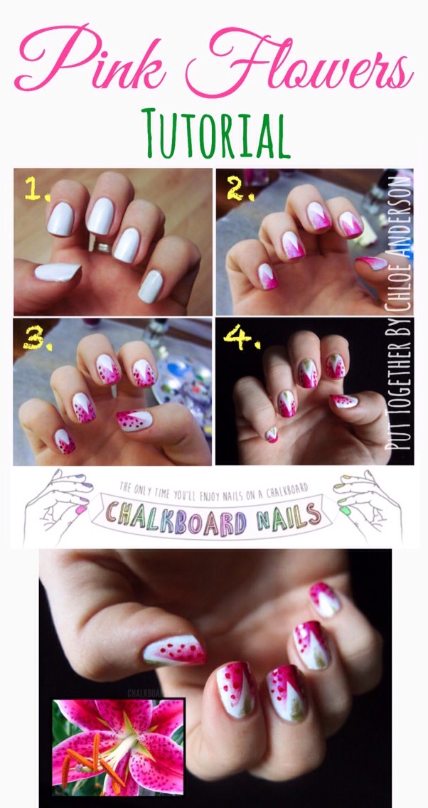 To achieve this look, check out the full tutorial HERE |www.chalkboardnails.com/2011/09/31-day-challenge-day-14-flowers.html?m=1
