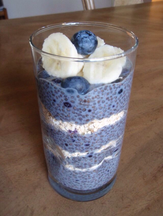 Ingredients:  4-5 Tablespoons of Chia seeds  1 to 1/2 cups almond milk  1/2 teaspoon cinnamon  1 teaspoon vanilla  1/2 cup whole rolled oats  1 cup blueberries (or other fruit of choice)  1/2 cup walnuts (or other nut of choice)  a few slices of banana