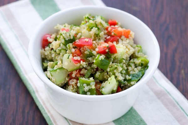 Greek Quinoa SaladQuinoa has become a trendy seed these days, and for good reason — it's nutritious and delicious! It works amazingly well as the base for this Greek salad. Just throw in a handful of feta, and you're good to go!