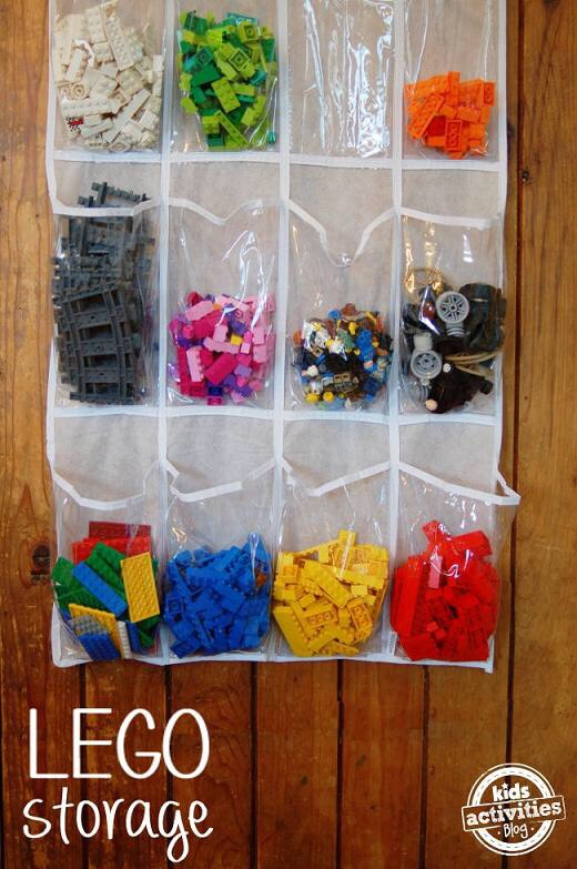 Use a shoe holder to sort snacks by color and candy and toys like Legos.