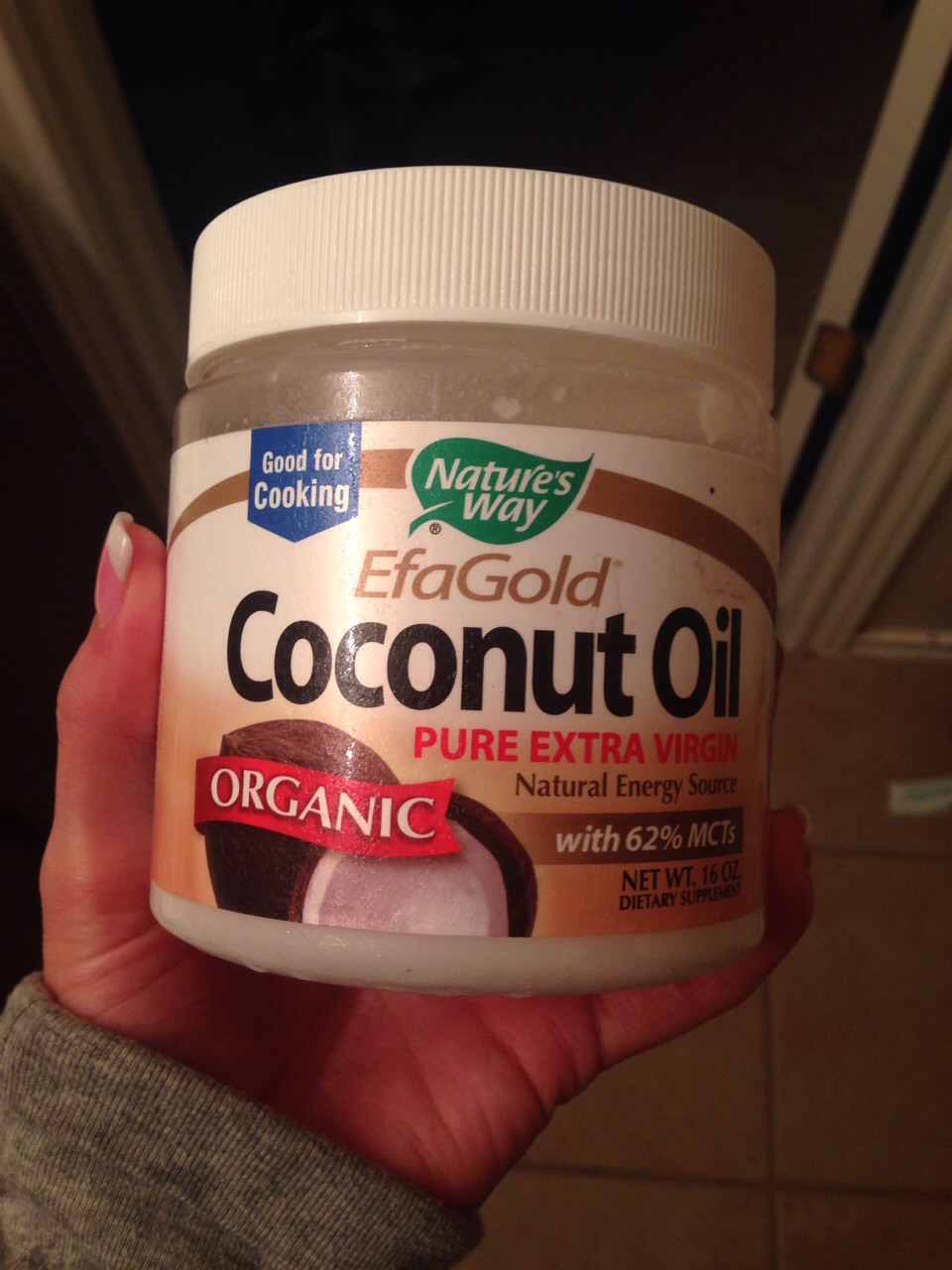 Unrefined organic coconut oil! Refined oil has bleach in it so make sure it's unrefined. Simply place in hot water to melt, soak hair, brush it threw and leave on for at least 2 hours then wash. Hair will be longer stronger and healthier. Noticeable difference in one use.