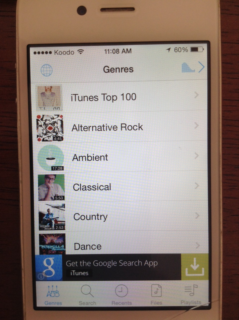 When you open the app, click on the tab Genres. Their you can pick a genre.