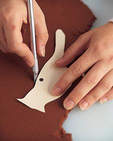 Photocopy bird templates onto card stock; cut them out, punching holes where indicated. Lay a template over dough; cut out shape with a utility knife (or use bird-shaped cookie cutters).